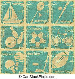sport, vendange, étiquettes, ensemble