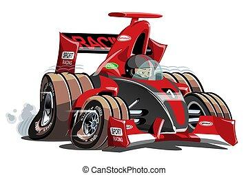 sport, vettore, corsa, isolato, bianco, automobile, cartone animato