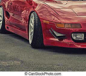 sport, voiture rouge, rue