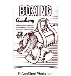 sport, wektor, akademia, reklama, chorągiew, boks