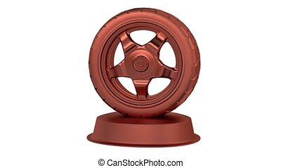 Sport Wheel Bronze Trophy in Infinite Rotation with a white...