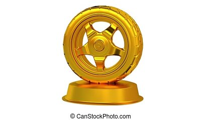 Sport Wheel Car trophy in Gold in Infinite Rotation with...