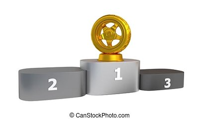 Sport Wheel Podium with Gold Silver and Bronze Trophy...