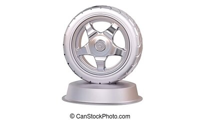 Sport Wheel Silver Trophy in Infinite Rotation with a white...