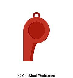 Sport whistle icon, flat style