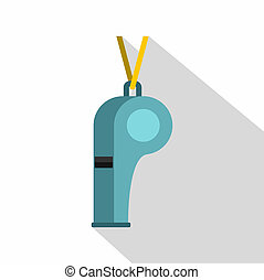 Sport whistle icon, flat style