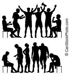 Sport winners and losers silhouettes