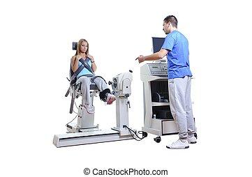 sport, wissenschaftler, machen, leistung, assessment., moderne technologie