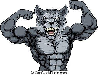 sport, wolf, maskottchen