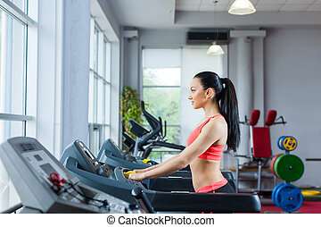 Sport woman exercising gym, fitness center - sport woman at...