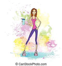Sport woman hold shaker drink fitness trainer girl...