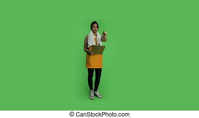 Sport woman isolated green screen
