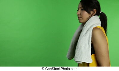 Sport woman isolated green screen injured with crutch -...