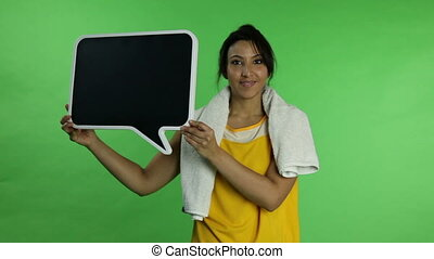 Sport woman isolated green screen confident with blank sign