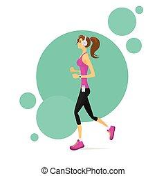 Sport Woman Run with Fitness Tracker Girl Runner Jogging