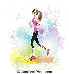 sport woman run with fitness tracker on wrist girl runner jogging over paint splash background training