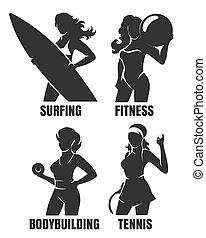 Sport Women Silhouettes Set