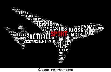 Sport word cloud concept over white background