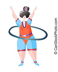 sport workout fitness woman turns hoop characters