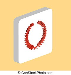 Sport Wreath Simple vector icon. Illustration symbol design template for web mobile UI element. Perfect color isometric pictogram on 3d white square. Sport Wreath icons for business project.