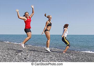 sport, wykonując, kobiety