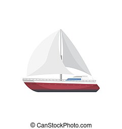 Sport yacht side view isolated icon