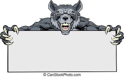 sport, zeichen, wolf, maskottchen