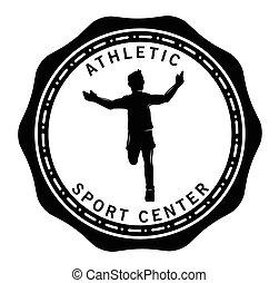 sport, zentrieren, läufer, etikett, :, abzeichen