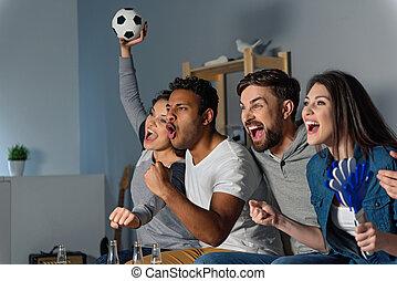 sport, zusammen, gruppe, aufpassen, friends