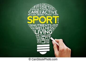 sport, zwiebel, wort, wolke, collage