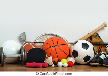 sportartikel, op, houten, achtergrond