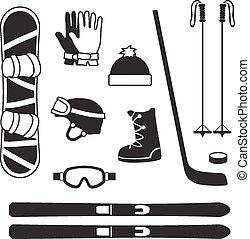 sportartikel, silhouettes, winter, verzameling, iconen