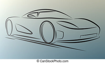 Sportcar - Abstract sportcar lines on white background. ...