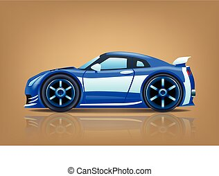 sportcar blue - illustration of blue sportcar view from side...