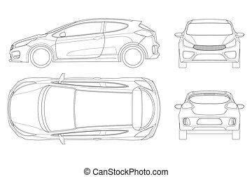 Sportcar or hatchback vehicle. SUV car set on outline, template for branding and advertising. Template vector isolated on white View front, rear, side, top