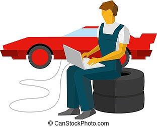 sportcar, service, voiture, ajuste, ouvrier, laptop., station, mécanicien