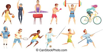 sportember, állhatatos, karikatúra, betűk