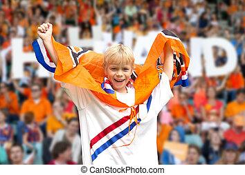 sporten aanhanger, in, een, stadion