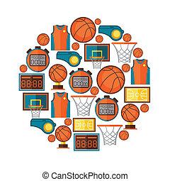 sporten, achtergrond, met, basketbal, iconen, in, plat,...