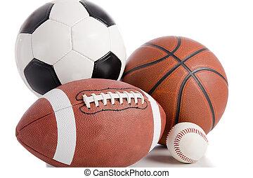sporten, bal, op wit