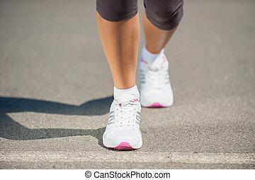 sporten, beeld, wandelende, schoentjes, run., gereed, vrouw...