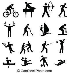 sporten, en, atletisch, iconen