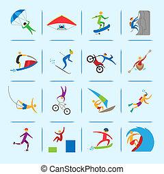 sporten, extreem, iconen