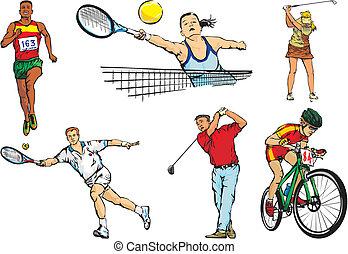 sporten, figuren, buiten, -, team