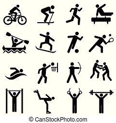 sporten, fitness, activiteit, en, oefening, iconen