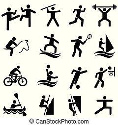 sporten, fitness, activiteit, en, oefening, pictogram, set
