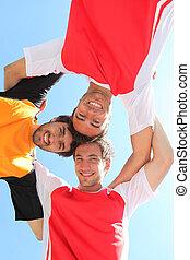 sporten, hoofden samen, team