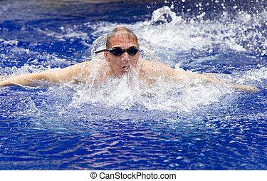 sporten, jonge, pool, zwemmer