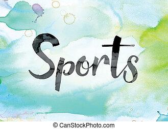 sporten, kleurrijke, watercolor, en, inkt, woord, kunst