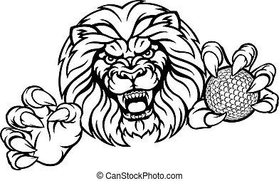 sporten, leeuw, bal, golf, mascotte